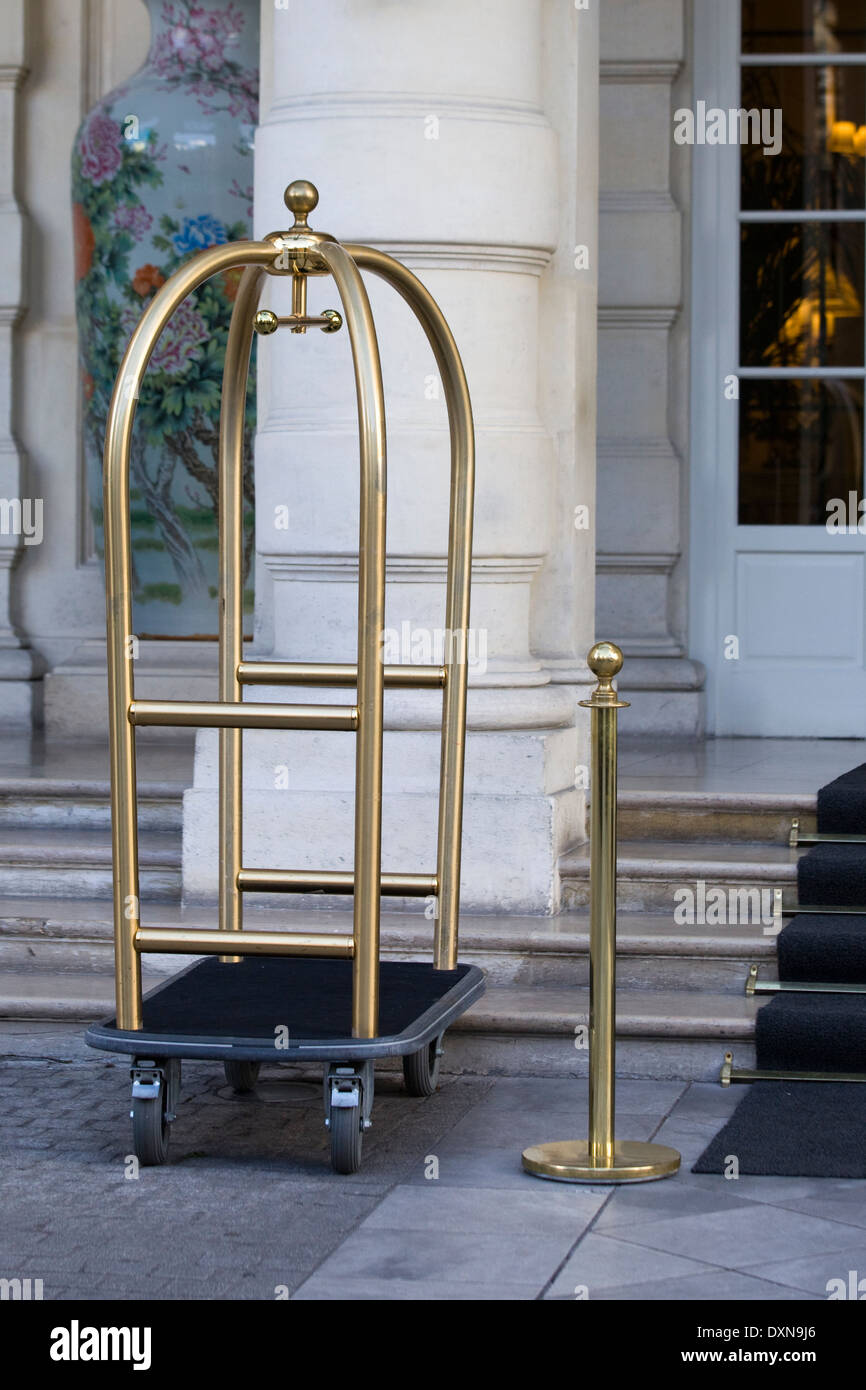 Luggage and Bellboy Trolley at a Hotel in Paris France - Stock Image