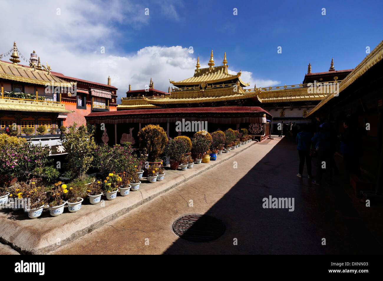 Tibet, Buddhism.Jokhang Monastery red walls and blue sky - Stock Image