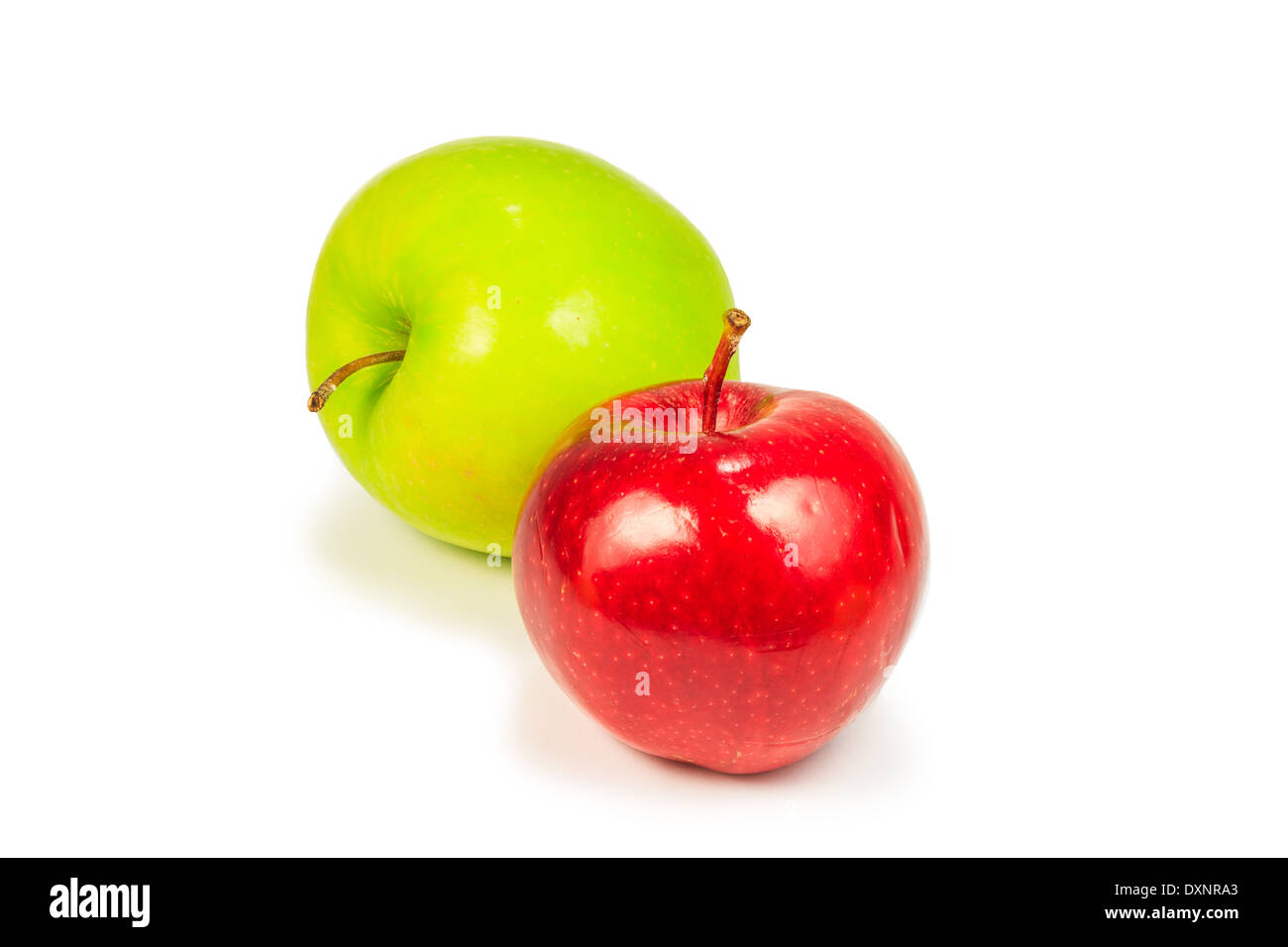 Ripe red and green apple isolated on white background - Stock Image