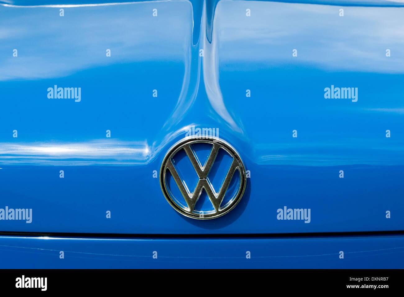 Blue Volkswagen 1500 badge detail. - Stock Image