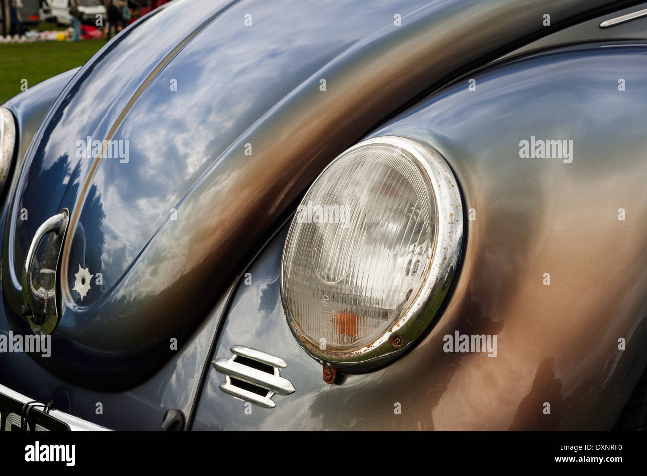 Two tone Beetle and bullet hole. - Stock Image