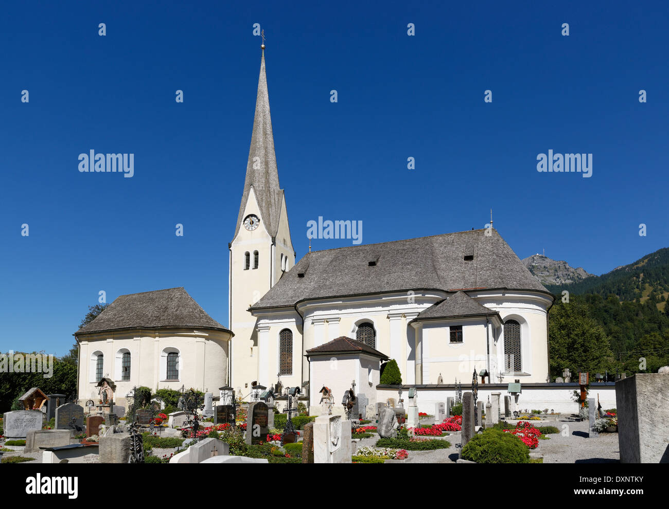 Germany, Upper Bavaria, Bayrischzell, St Margaret's Church - Stock Image