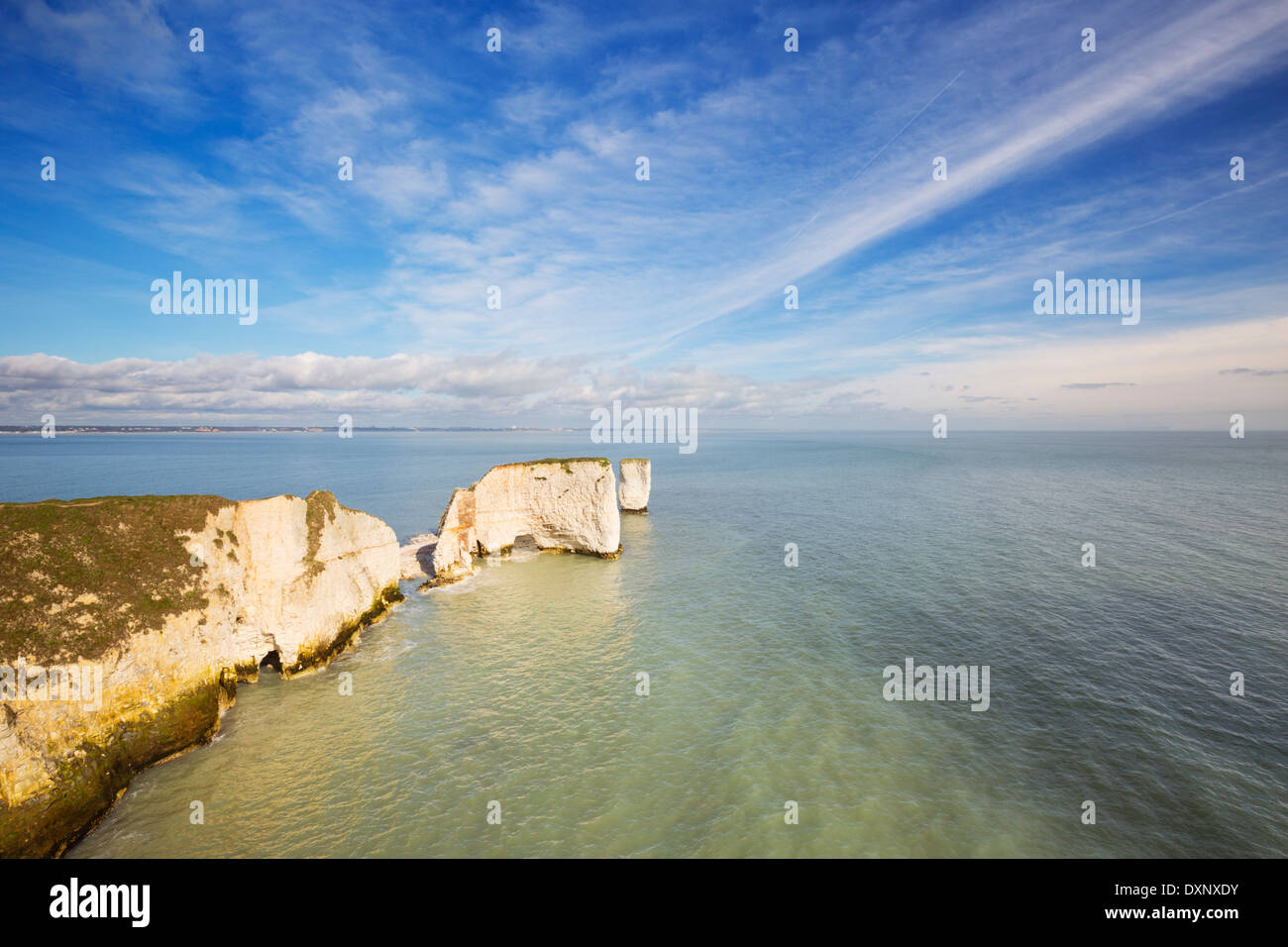 The cliffs and rock stacks of Old Harry Rocks on the Jurassic Coast of Dorset, England Stock Photo