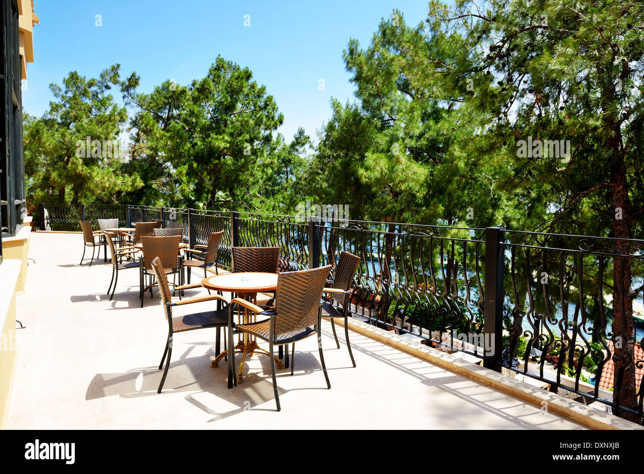 The Outdoor Terrace Of Restaurant At Modern Luxury Hotel Marmaris Stock Photo Alamy