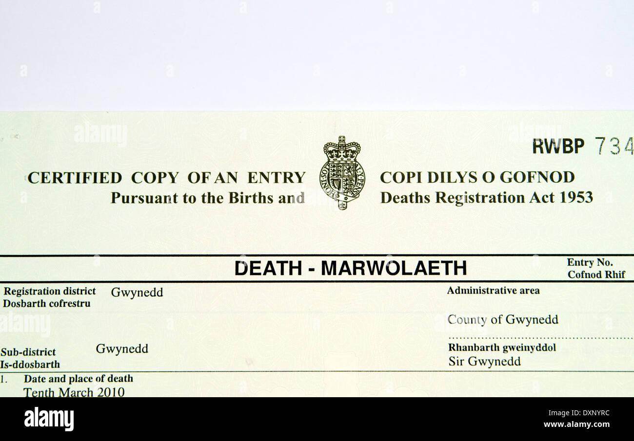 Death Certificate Stock Photos Death Certificate Stock Images Alamy