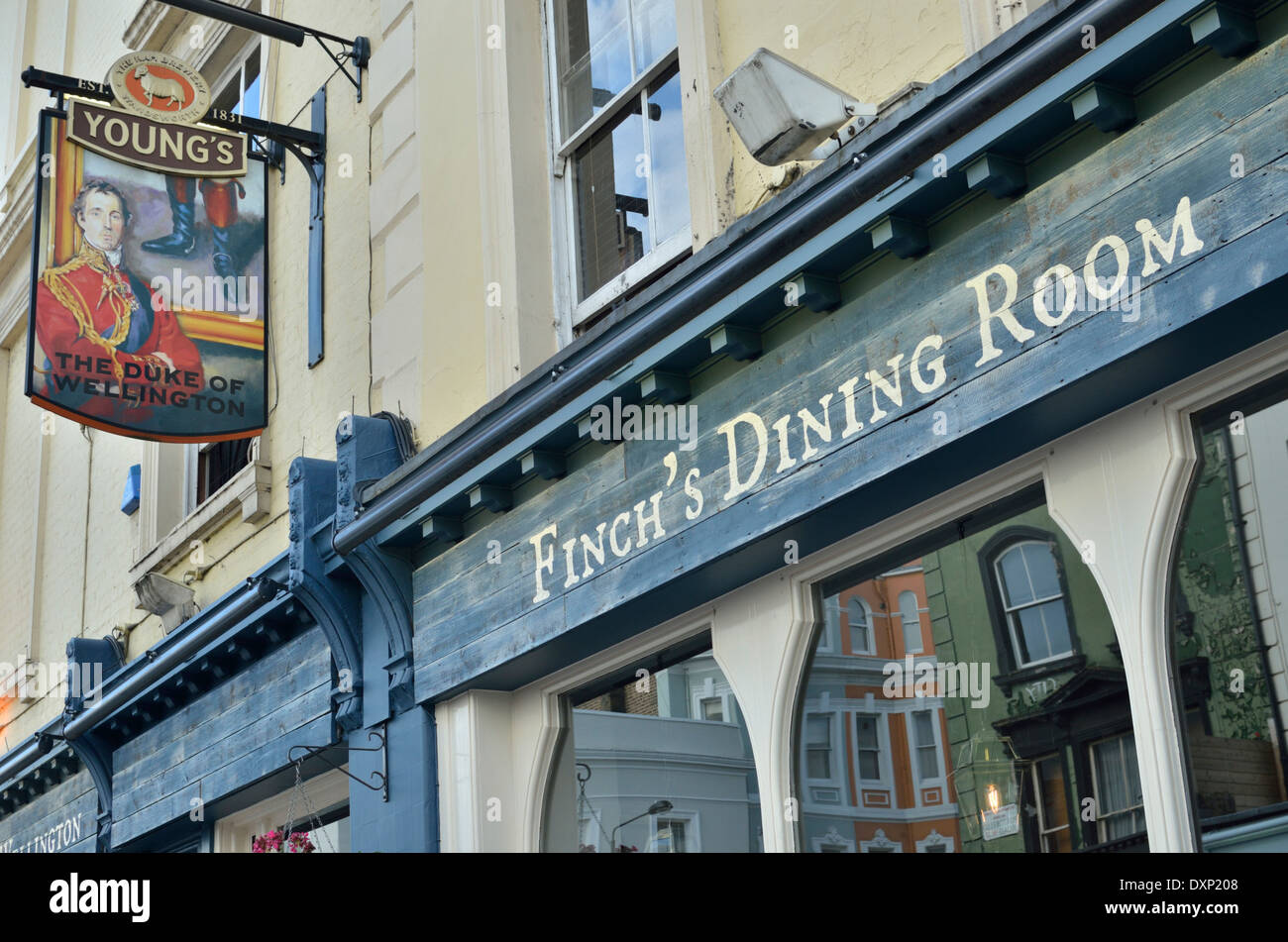 Finch's Dining Room at the Duke of Wellington pub in Portobello Road, Notting Hill, London, UK - Stock Image