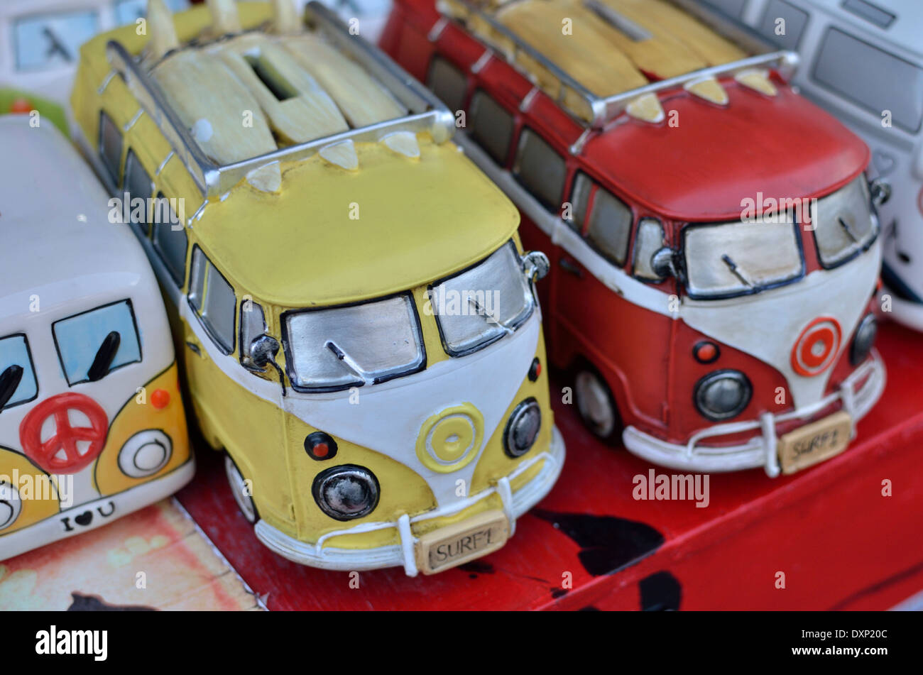 Models of old campervans on a market stall, London, UK - Stock Image