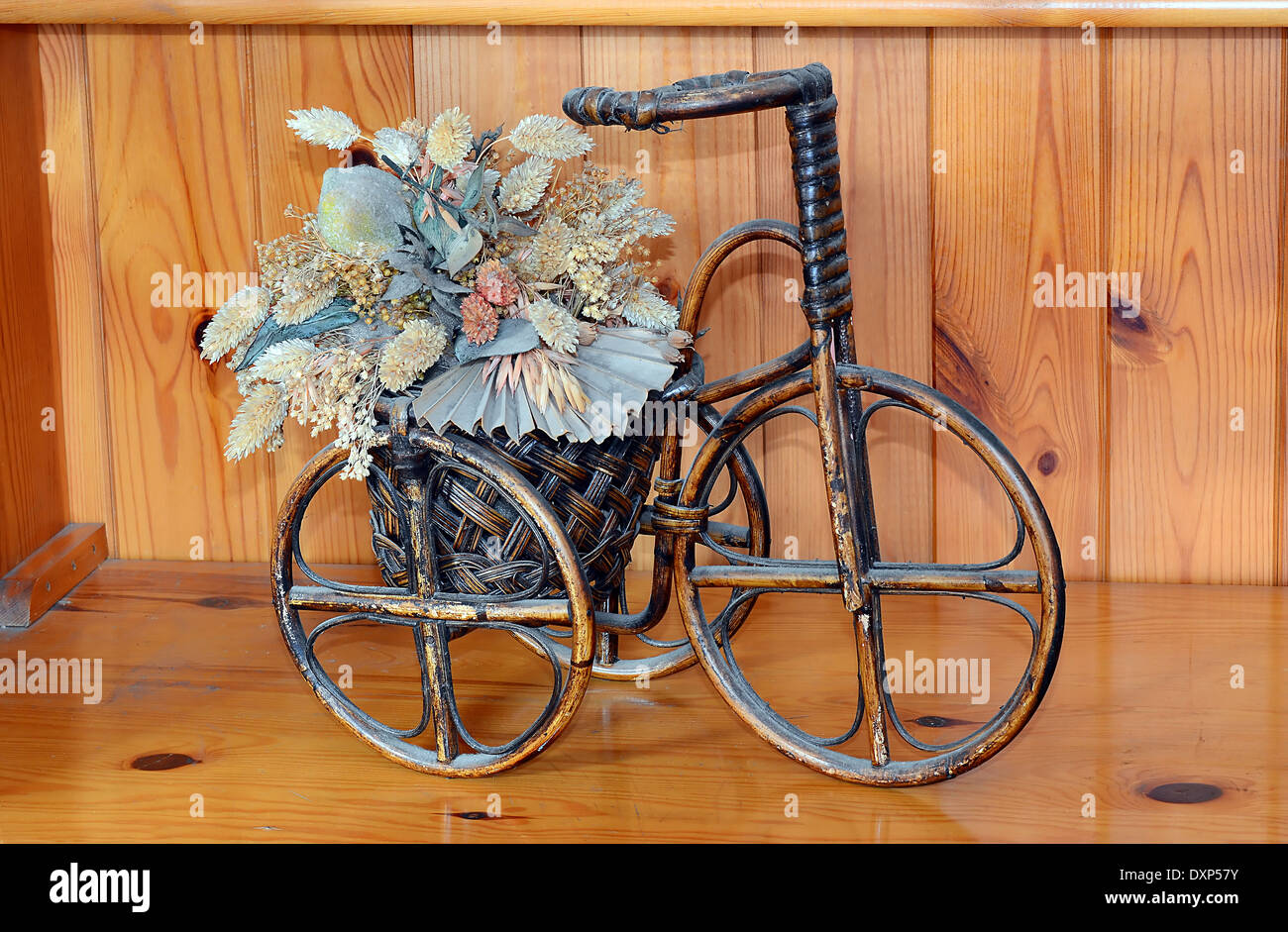 Antique Trike Tricycle Cane Wood Planter Stock Photo Alamy