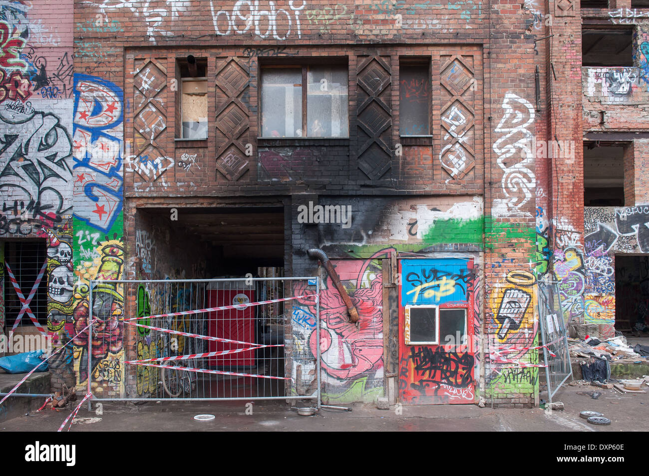 Berlin, Germany, detail of the ruins of ice factory in the Koepenicker Street - Stock Image