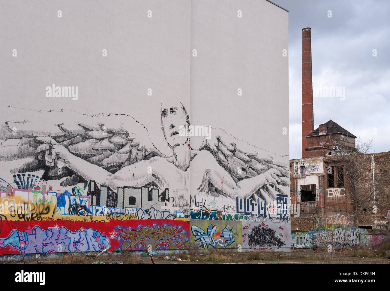 Berlin, Germany, fire wall with graffiti and ruin the ice cream factory - Stock Image
