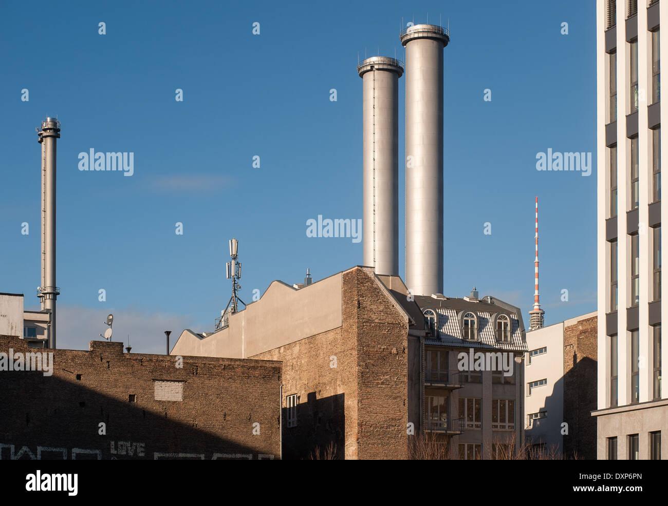 Berlin, Germany, chimneys of thermal power station Berlin-Mitte Stock Photo