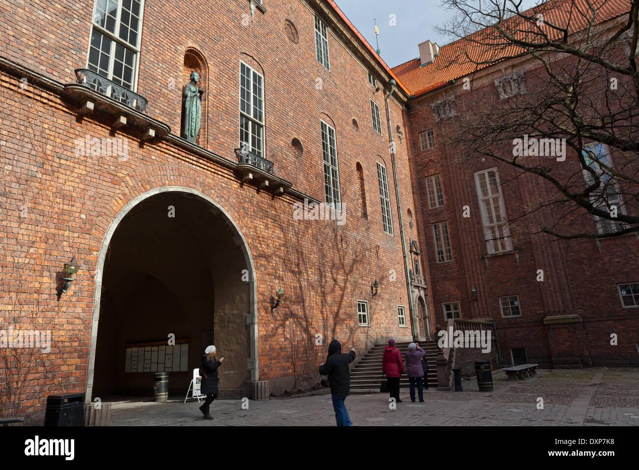 Stockholm, Sweden - Stadshuset (City Hall), guiding entrance wintertime from civic court, Kungsholmen - Stock Image