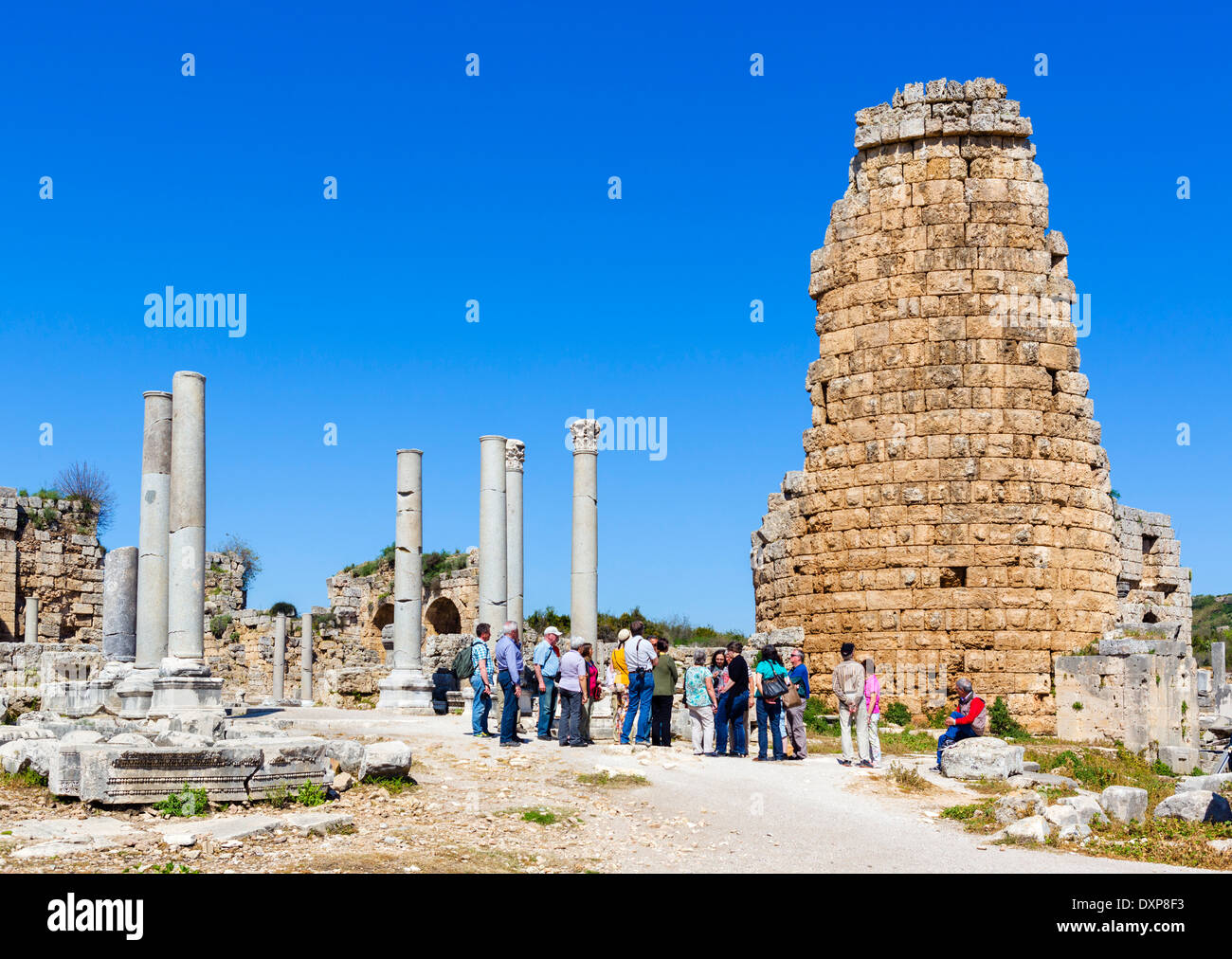 Area near the Hellenistic Gate in the ruins of the ancient Greek city of Perge, Pamphylia, Antalya Province, Turkey - Stock Image