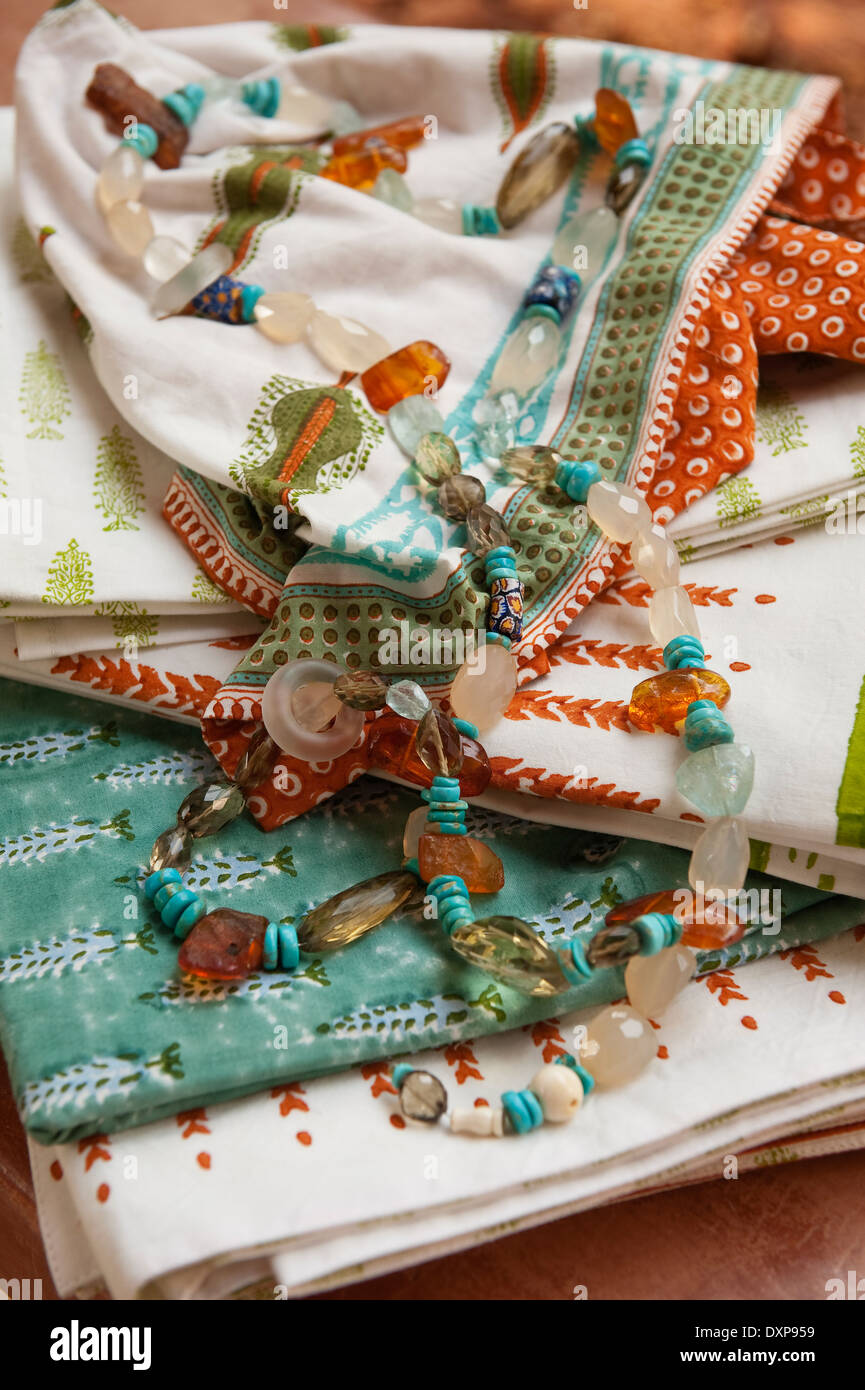Beaded necklace with printed fabrics in the Indian state of Goa - Stock Image