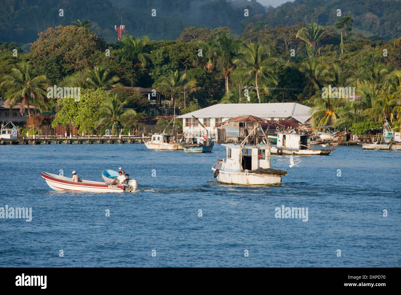 Guatemala, Department of Izabal, Livingston. Port town located at the mouth of the Rio Dulce at the Gulf of Honduras. - Stock Image