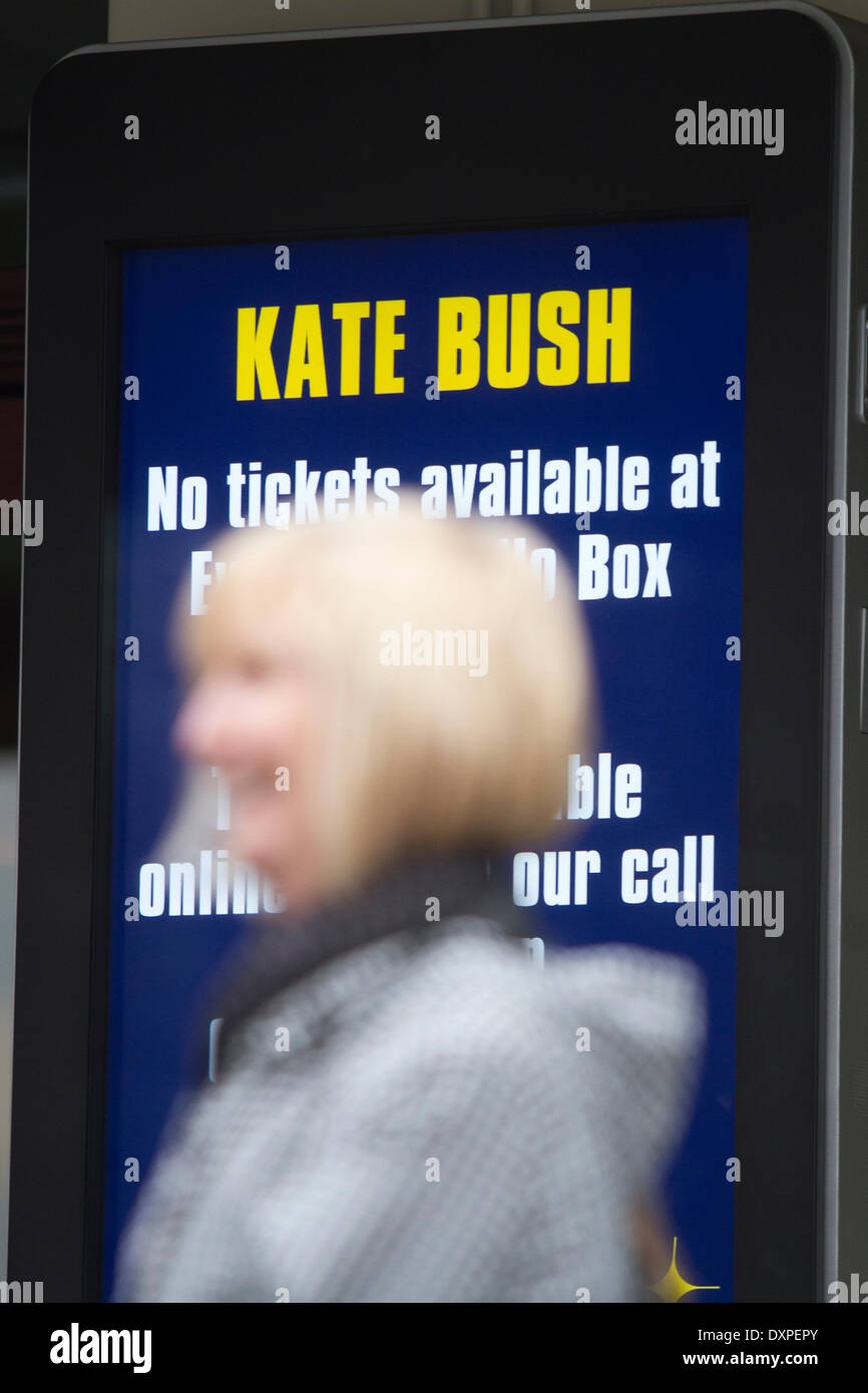 London UK. 28th March 2014. Tickets for the Kate Bush concerts have sold out in 15 minutes after the singer songwriter Stock Photo