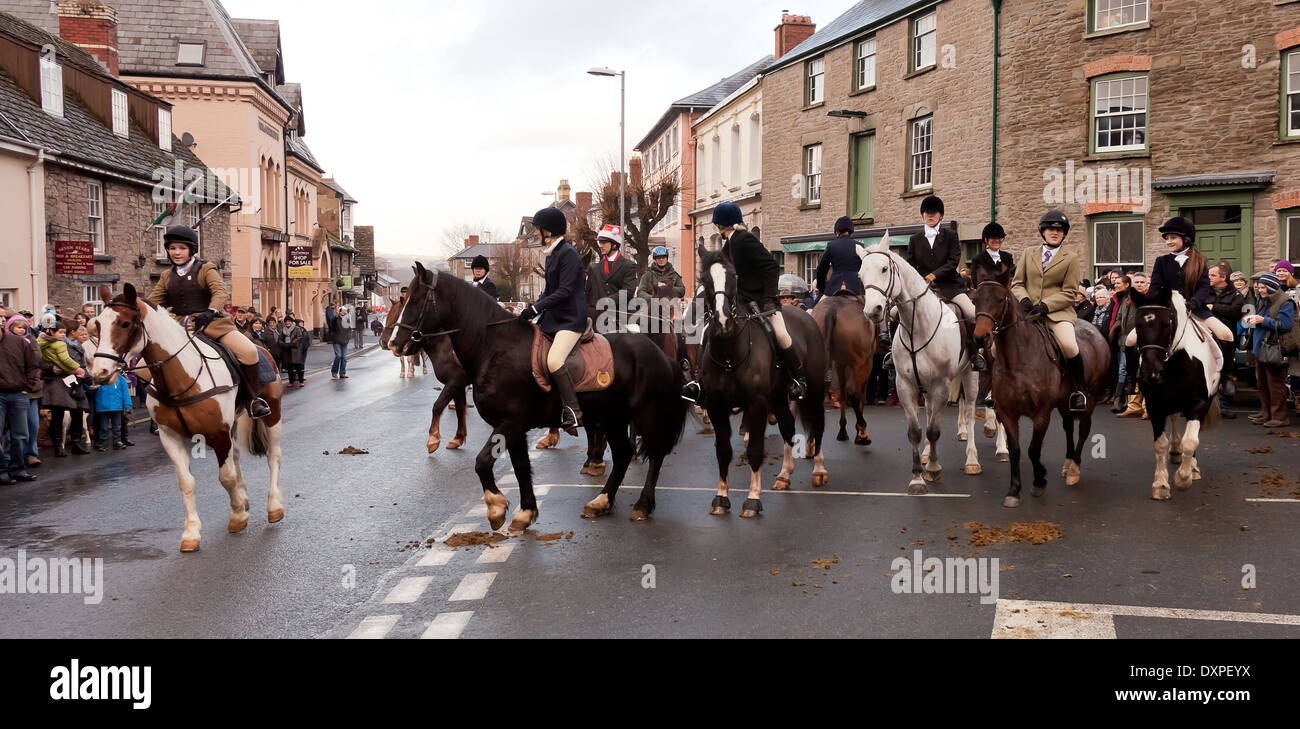 The Hunt prepares for the off in Hay on Wye  Golden Valley Hunt, Boxing Day meet in Hay on Wye. - Stock Image