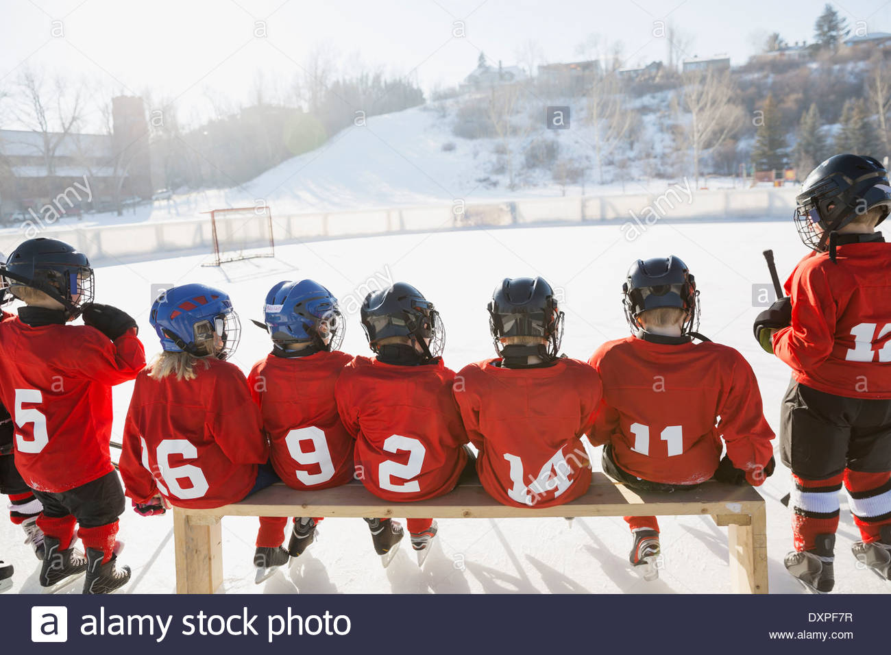 Rear view of ice hockey team sitting on bench - Stock Image