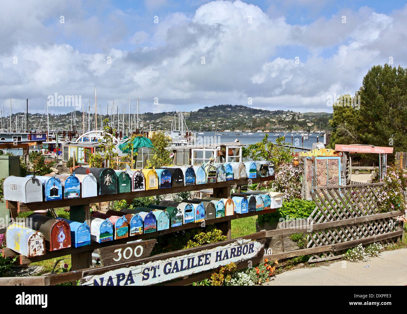 colorful mailboxes in sausalito California - Stock Image