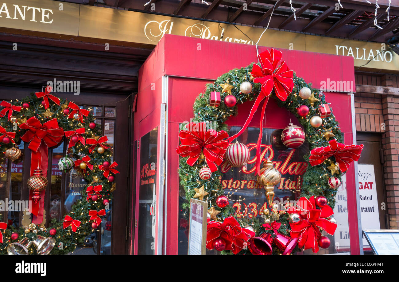 Little Christmas Italy.Christmas In Little Italy In New York City Stock Photo
