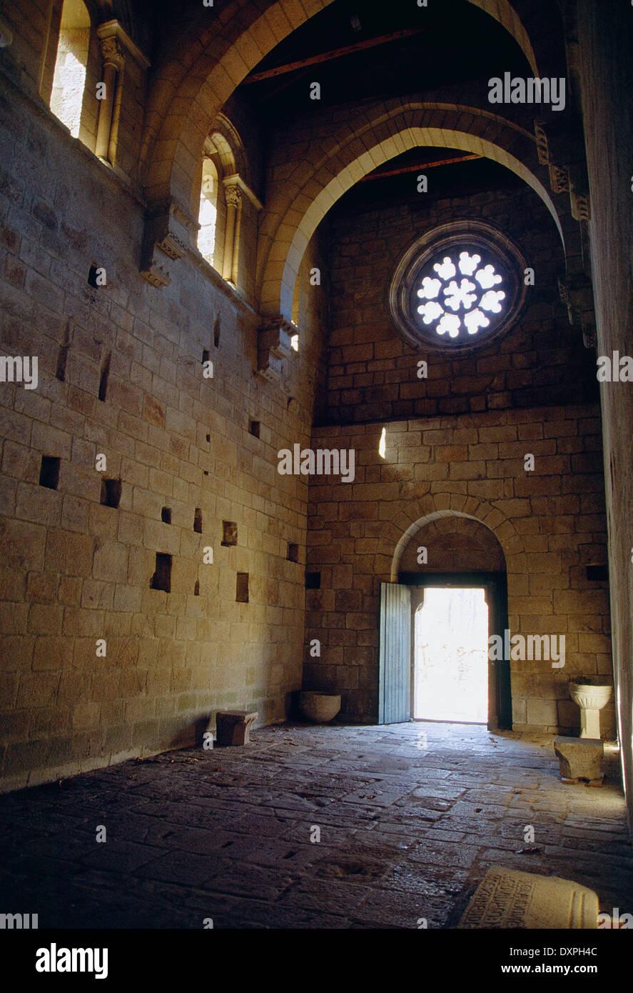 Church, indoor view. Monastery of Santa Cristina de Ribas de Sil, Ribeira Sacra, Orense province, Galicia, Spain. - Stock Image