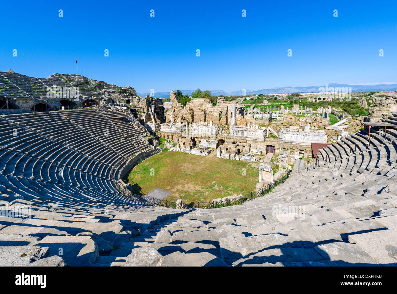 View over the ruins of ancient Side from the Theatre, Pamphylia, Antalya Province, Turkey - Stock Image