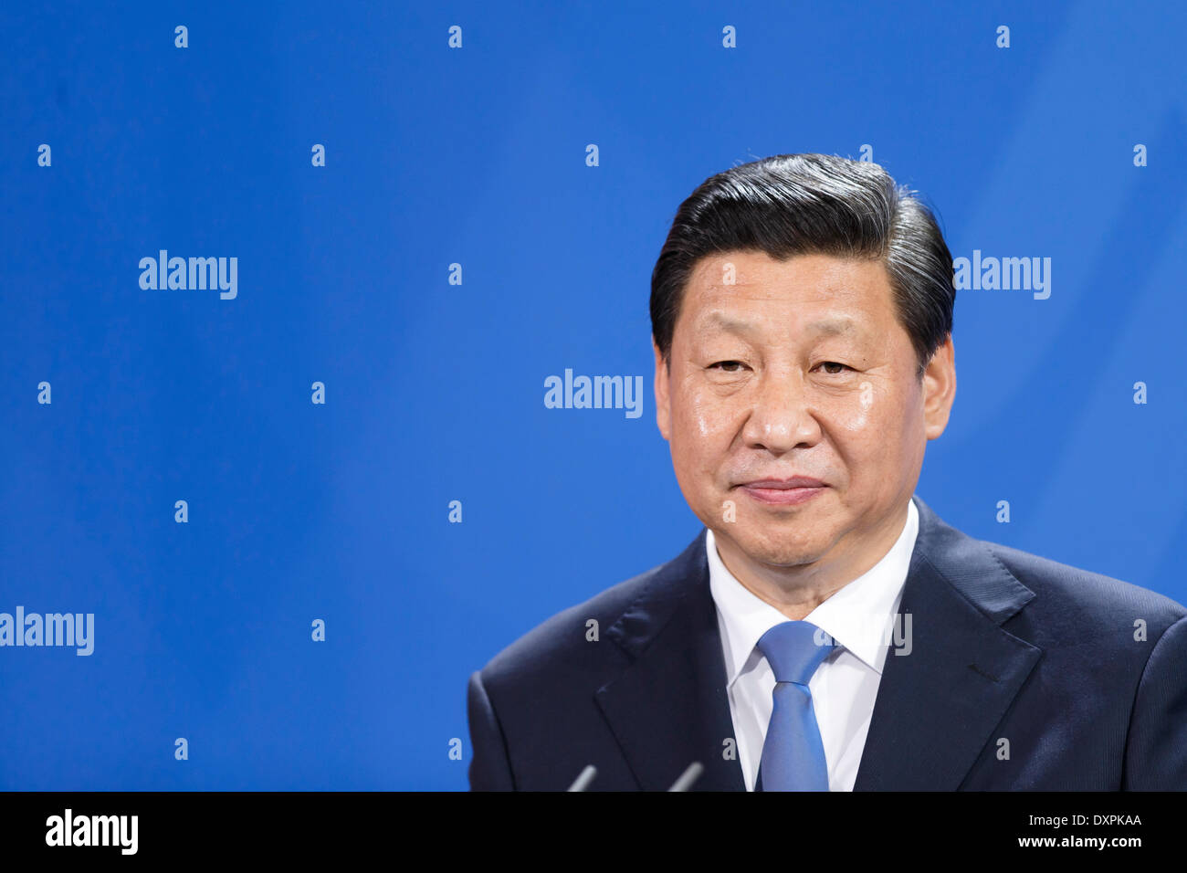 Berlin, Germany. March, 28th, 2014. Common press meeting of Chinese president Xi Jinping by German Chancellor Angela Merkel in the chancellor's office in Berlin. / Picture: Xi Jinping,  president of China. Credit:  Reynaldo Chaib Paganelli/Alamy Live News - Stock Image