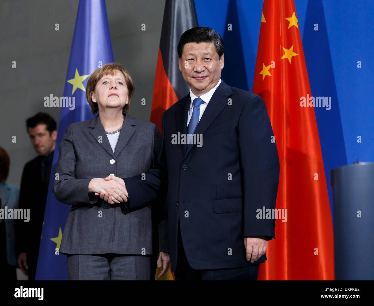 Berlin, Germany. March, 28th, 2014. Common press meeting of Chinese president Xi Jinping by German Chancellor Angela Merkel in the chancellor's office in Berlin. / Picture: Xi Jinping,  president of China, and Angela Merkle, German Chancellor. Credit:  Reynaldo Chaib Paganelli/Alamy Live News - Stock Image