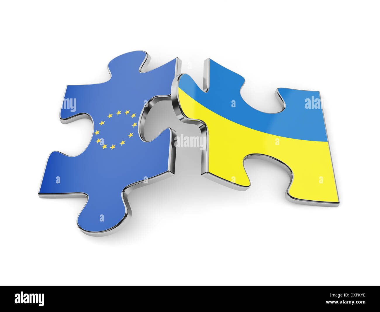 3d render of Ukraine and Europe flags puzzle. Union concept - Stock Image