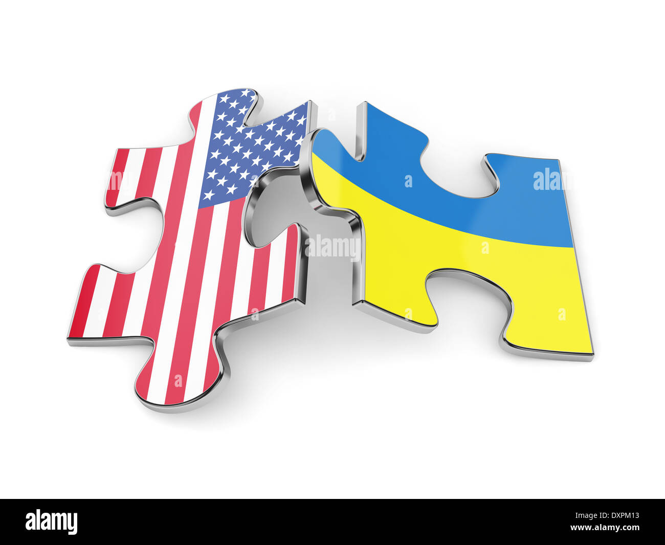 3d render of Ukraine and USA flags puzzle. Union concept - Stock Image