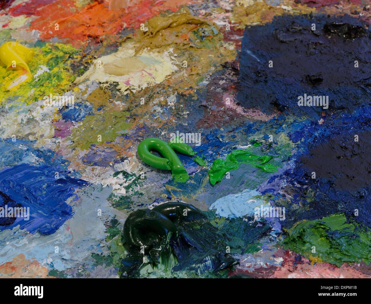 Oil color palette - Stock Image