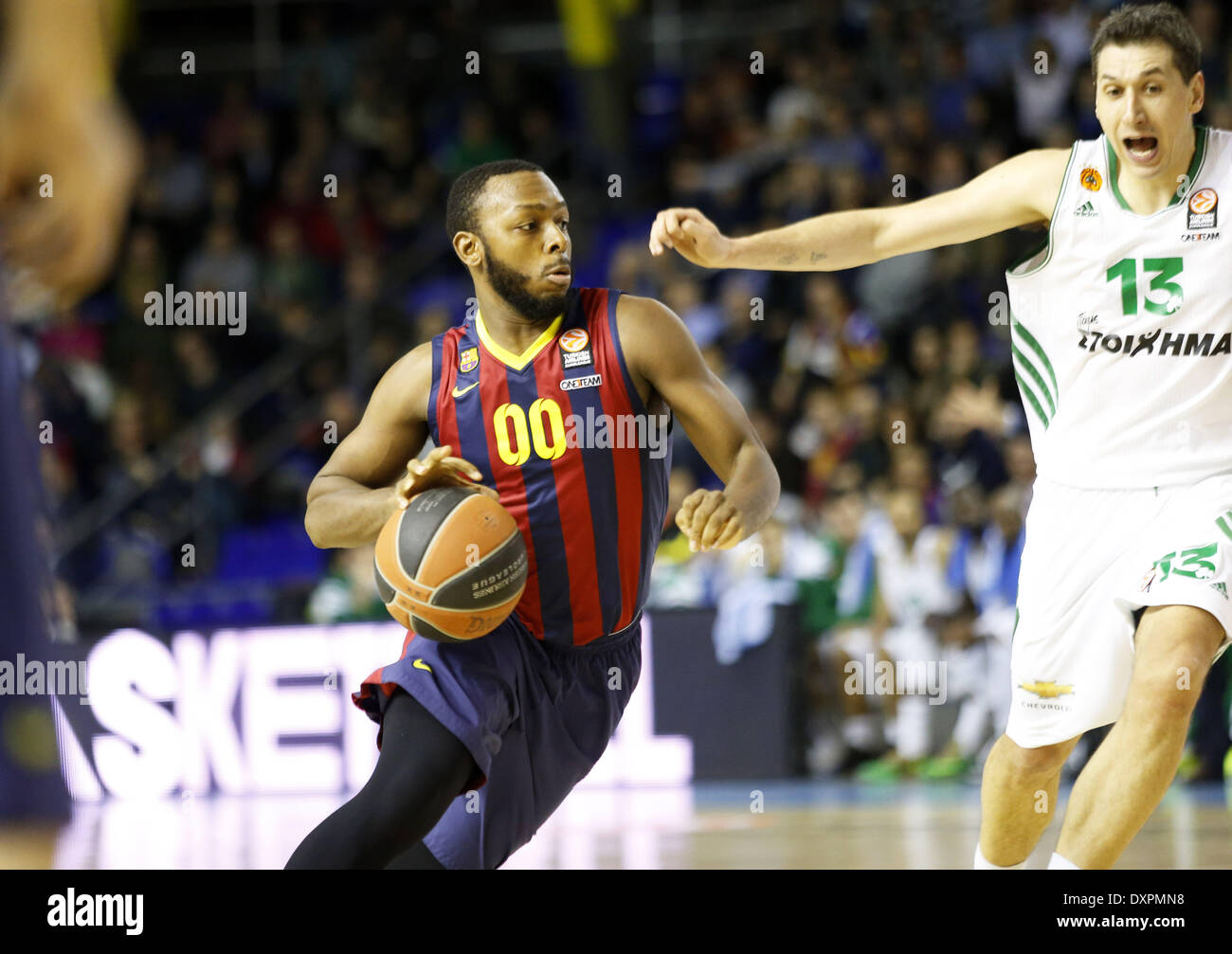 Barcelona, Spain. 28th Mar, 2014. Jacop Pullen and Dimitris Diamantidis in the match of the Top 16 Euroleague basketball between FC Barcelona and Panathinaikos, played at the Palau Blaugrana, the March 28, 2014. Photo Joan Valls/Urbanandsport/Nurphoto. Credit:  Joan Valls/NurPhoto/ZUMAPRESS.com/Alamy Live News - Stock Image