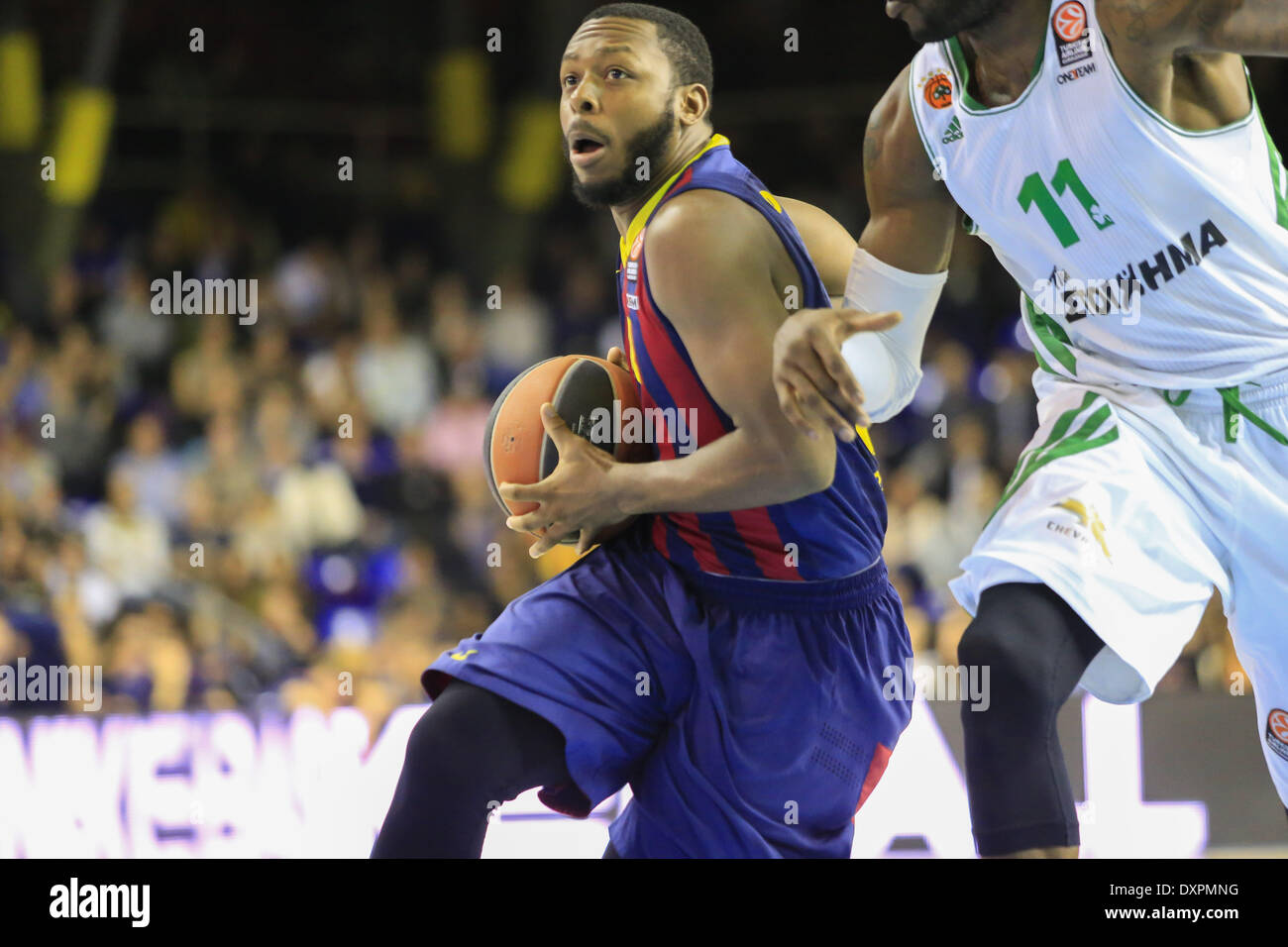 Barcelona, Spain. 28th Mar, 2014. Jacob Pullen in the match of the Top 16 Euroleague basketball between FC Barcelona and Panathinaikos, played at the Palau Blaugrana, the March 28, 2014. Photo Aline Delfim/Urbanandsport/Nurphoto. Credit:  Aline Delfim/NurPhoto/ZUMAPRESS.com/Alamy Live News - Stock Image
