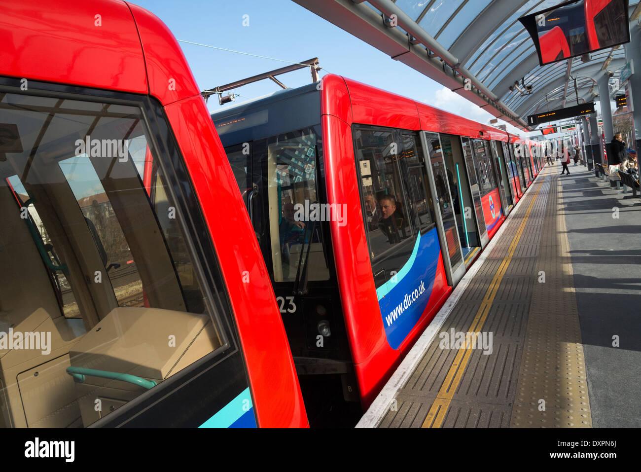 DLR station, Docklands, London, England, UK - Stock Image