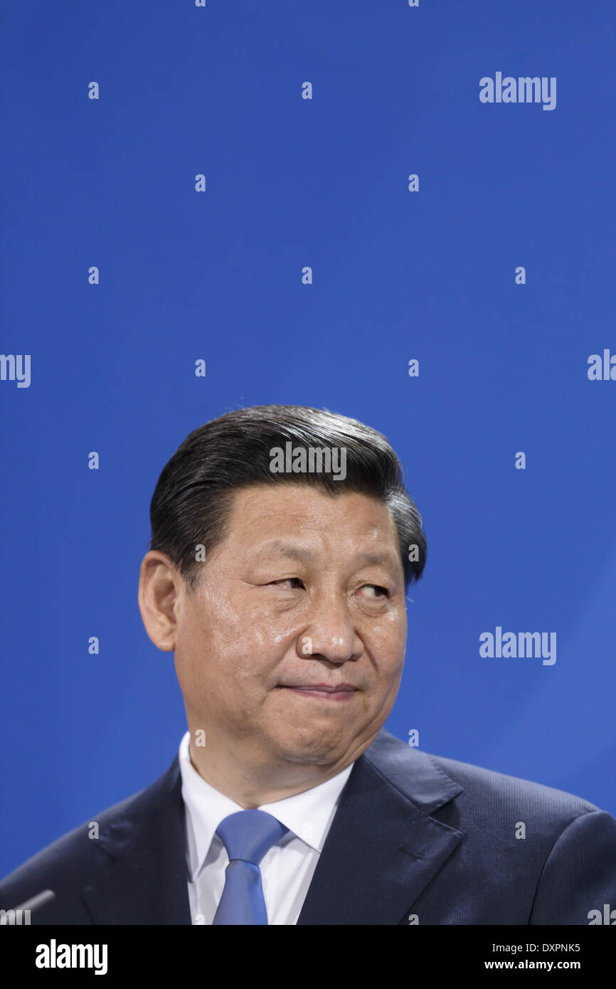 Berlin, Germany. 28th Mar, 2014. Common press meeting of Chinese president Xi Jinping by German Chancellor Angela Merkel in the chancellor's office in Berlin./Picture: Xi Jinping, president of China, in Berlin, Germany, on March 28, 2014. Credit:  Reynaldo Paganelli/NurPhoto/ZUMAPRESS.com/Alamy Live News - Stock Image