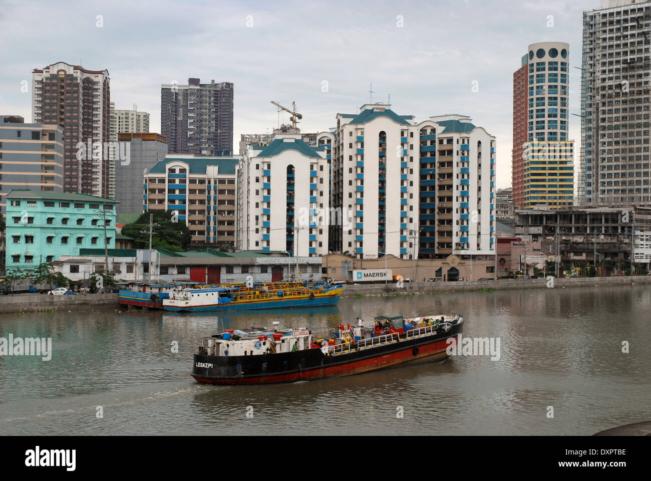 Cargo Boat, Manila, Phillippines. - Stock Image