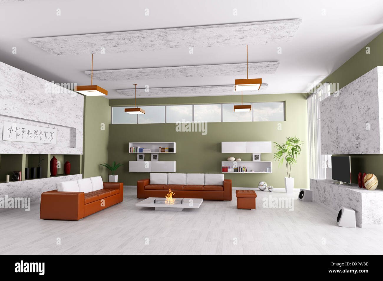 Tremendous Interior Of Modern Living Room With Two Sofas And Fireplace Dailytribune Chair Design For Home Dailytribuneorg