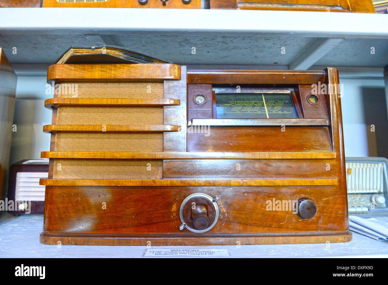 Antique Radios at the Hoswick Visitor Museum Shetland Scotland - Stock Image