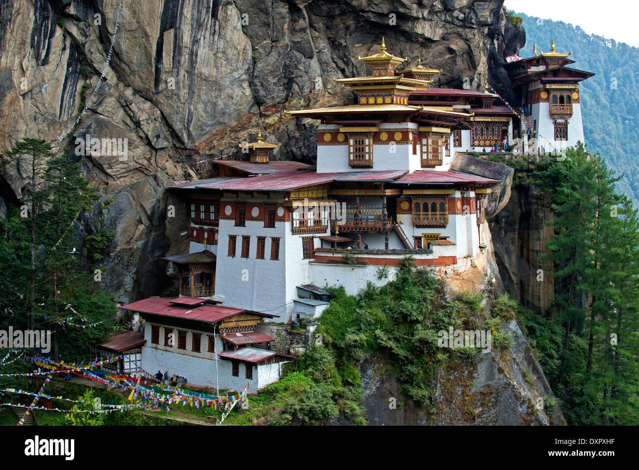 Tiger's Nest Monastery, Taktsang Palphug Monastery, Paro, Bhutan - Stock Image