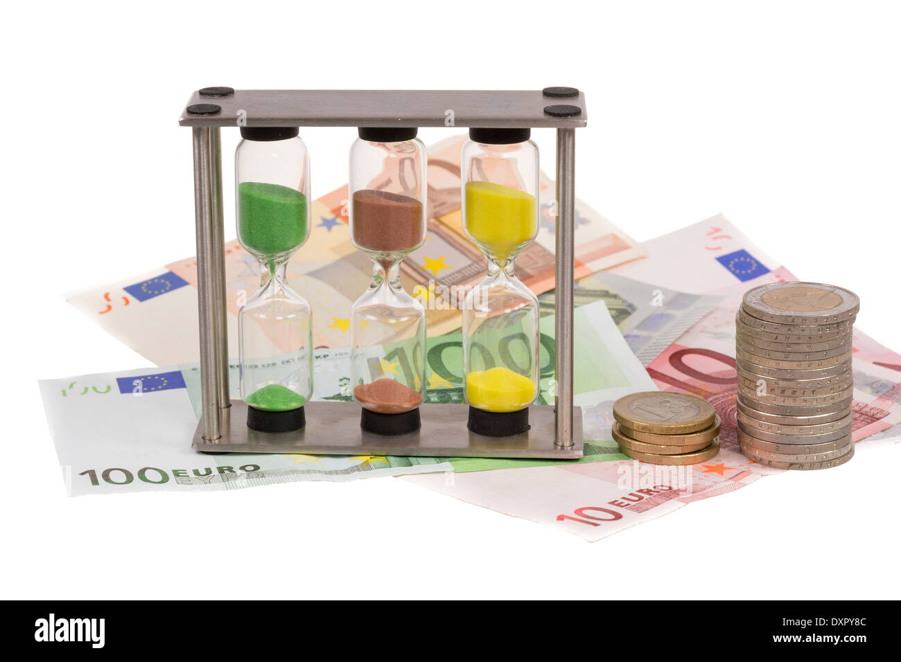 Sandglass and a couple of eure banknotes. - Stock Image