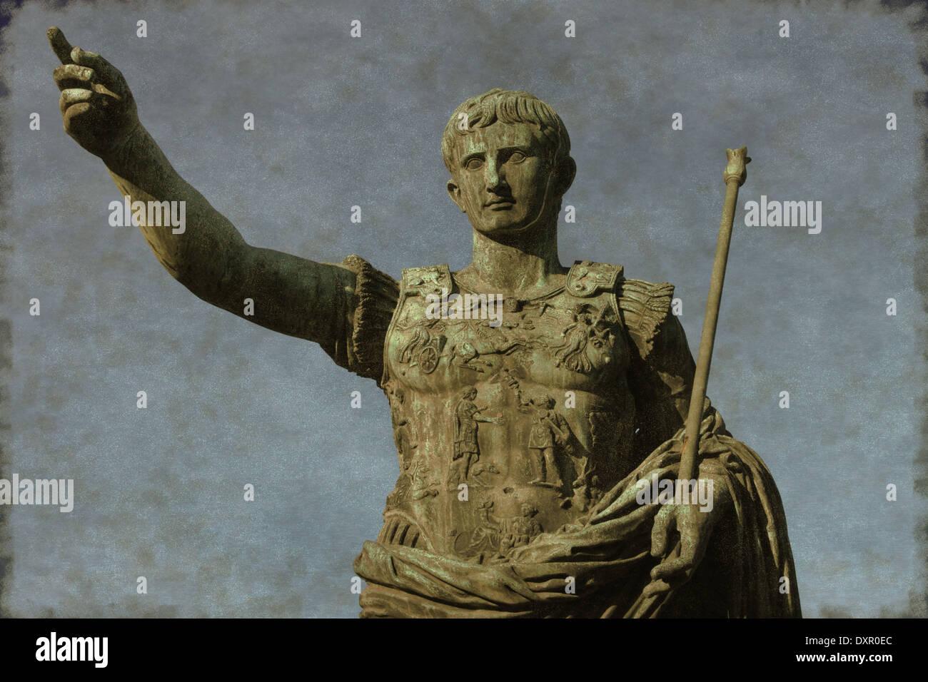 Vintage image of the Roman emperor Augustus, symbol of power Stock Photo