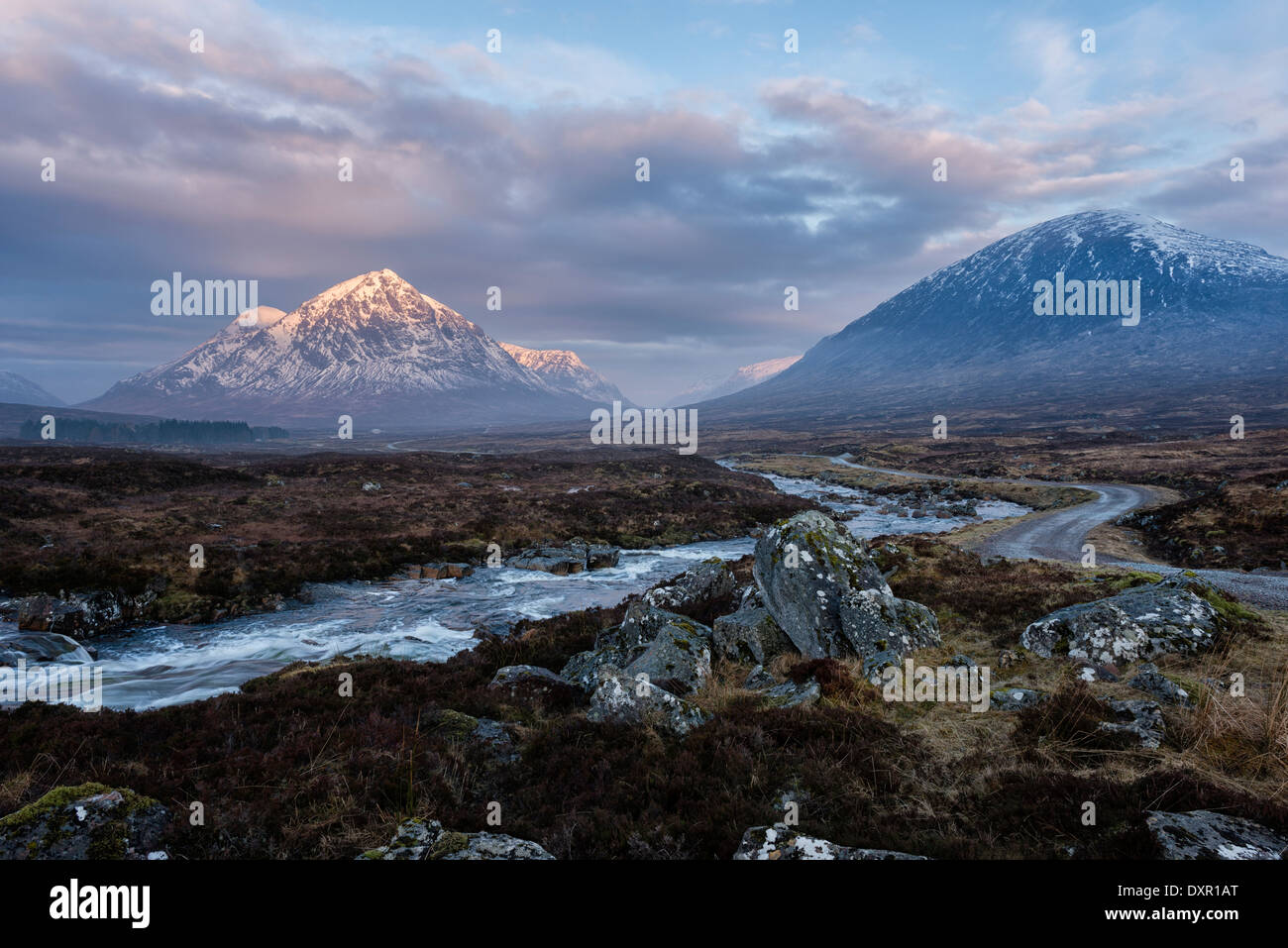 On Rannoch Moor  west of Glencoe looking towards the entrance to Glen Coe - Stock Image
