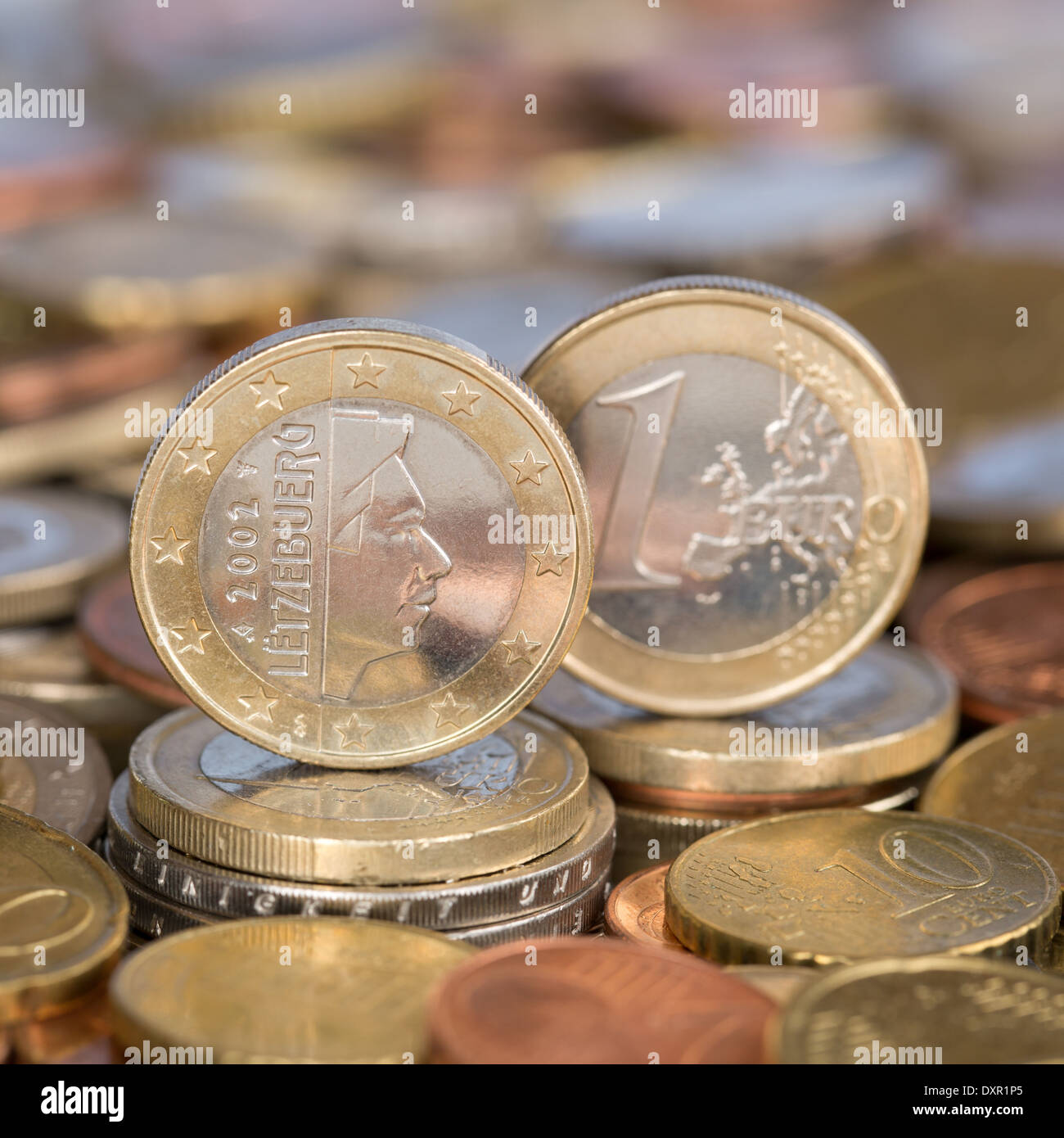 A one Euro coin from the European Union currency member country Luxemburg - Stock Image