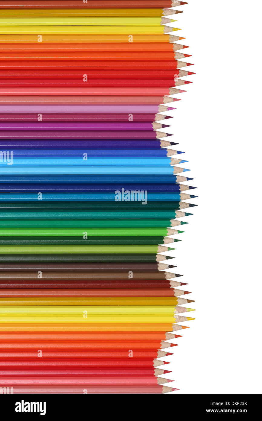 School supplies colored pencils forming a wave, education, success and winning topic - Stock Image