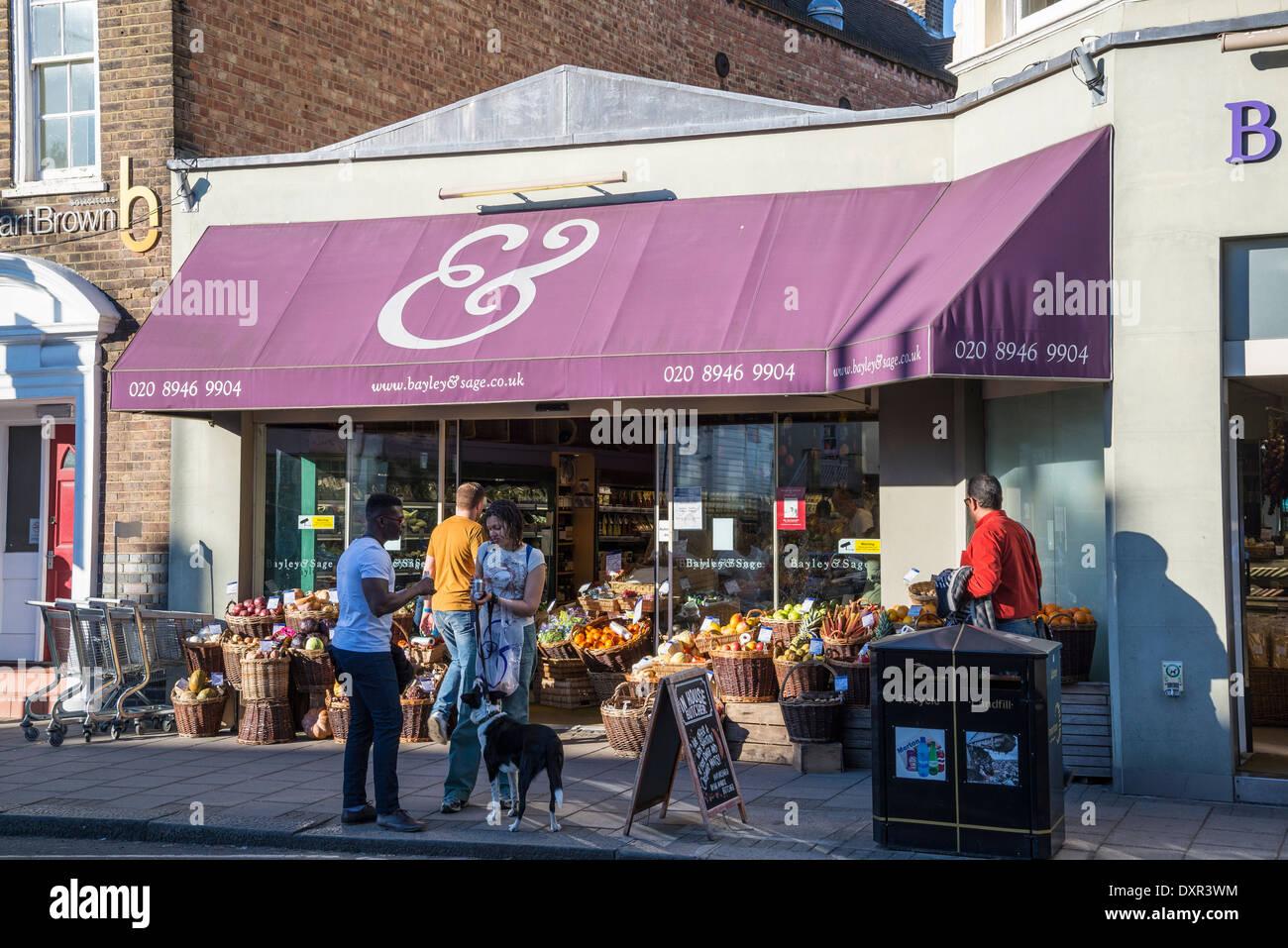 Bayley & Sage, gourmet and specialty food shop at Wimbledon High Street, London, UK - Stock Image