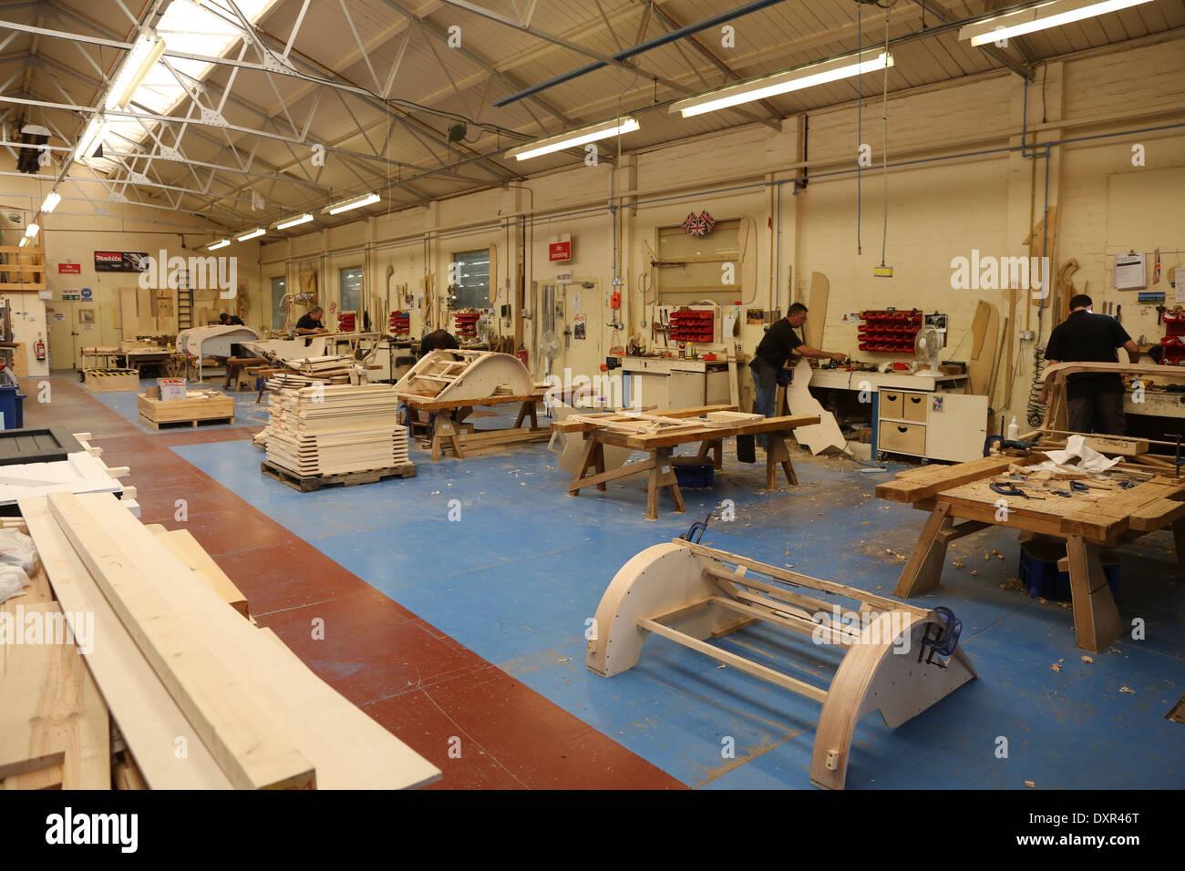 Morgan Motor Car factory wood frame department. Shot in September ...
