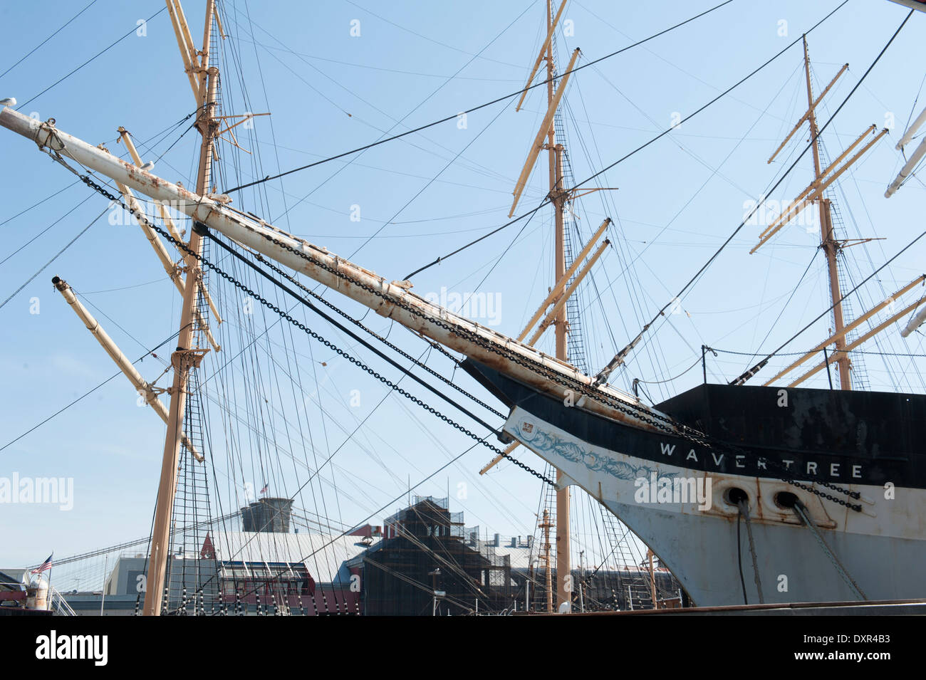 Masts and prows of the Wavertree and Peking, two of the historic ships owned by the South Street Seaport Museum. - Stock Image