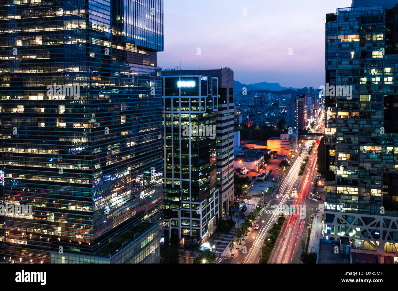 Skyscrapers at night in the Gangnam district of Seoul ...