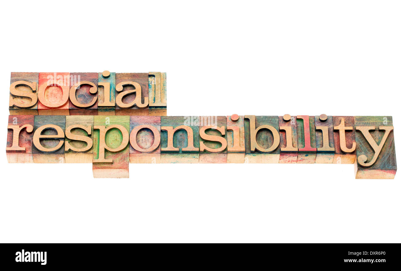 social responsibility words - isolated word in letterpress wood type - Stock Image