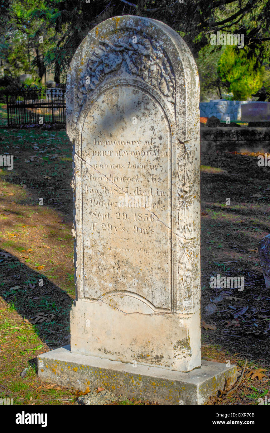 1856 Grave marker at the Columbia cemetery, California, an 1800s gold rush town - Stock Image